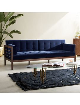 Hollywood Midnight Blue Velvet Sofa by Crate&Barrel