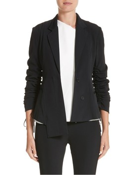 Twill Ruched Sleeve Blazer by Jason Wu