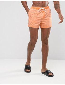 Asos Swim Shorts In Orange Acid Wash Short Length by Asos
