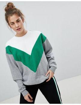 Pull&Bear Colourblock Chevron Sweater by Pull&Bear