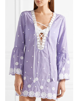 Laure Embroidered Cotton Voile Mini Dress by Miguelina