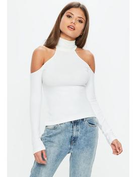 White Brushed Cold Shoulder Top by Missguided