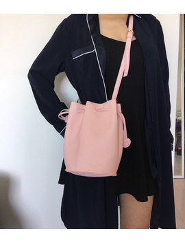 Pink Bucket Shoulder Bag Crossbody Tote Handbag Purse Not Leather Drawstring Gift For Her by Etsy
