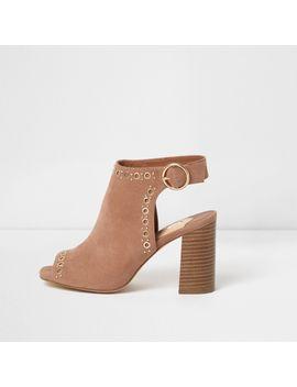 Nude Eyelet Stud Block Heel Shoe Boots by River Island