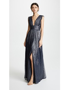Metallic Ruffle Gown With V Neckline by Monique Lhuillier Bridesmaids