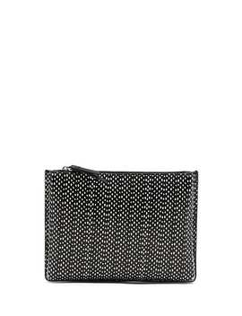 Snake Dot Leather Small Pleated Zip Pouch by Banana Repbulic