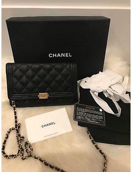Nib Chanel Black Ghw Caviar Le Boy Woc Classic Flap Mini Wallet On Chain Bag by Chanel