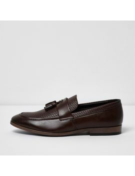 Dark Brown Tassel Woven Loafers by River Island