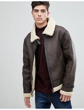 Mango Man Fleece Lined Aviator Jacket In Chocolate by Mango