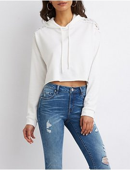Crocheted Detail Cropped Hoodie by Charlotte Russe