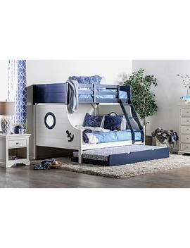 Furniture Of America Admiral Ship Blue/White Twin Over Full Bunk Bed by Furniture Of America