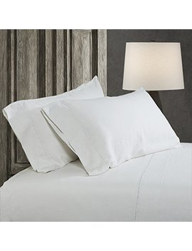 Simple&Opulence 100 Percents Linen Sheet Set Embroidery (Queen, White) by Simple&Opulence