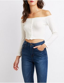 Ribbed Off The Shoulder Button Up Top by Charlotte Russe