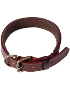 Logical Leather Padded Leather Dog Collar, Brown   L by Logical Leather