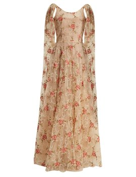 Scoop Neck Floral Embroidered Tulle Gown by Luisa Beccaria