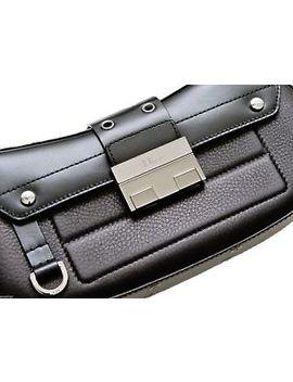 Christian Dior Bag Black Leather Street Chic Silver Hw Shoulder Purse Pochette by Dior