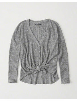 Cozy Rib Button Through Tee by Abercrombie & Fitch