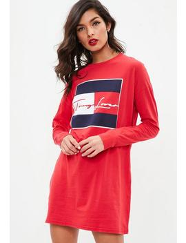 Red To My Lover Slogan Oversized Dress by Missguided