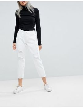 Noisy May Petite Destroyed Knee Mom Fit Jeans by Noisy May Petite