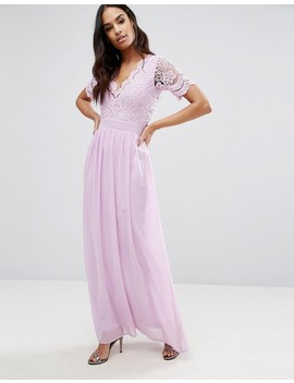 Club L Maxi Dress With Crochet Lace Detail & Cut Out Back by Club L