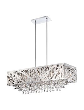 Benedetta 10 Light Pendant, Chrome With Cut Crystal Droplets by Lite Source
