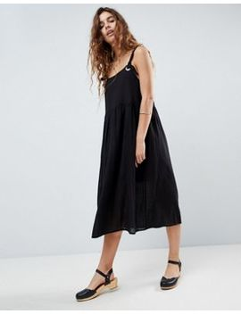 Asos Design Casual Smock Midi Sundress In Grid Texture With Knot Tie by Asos