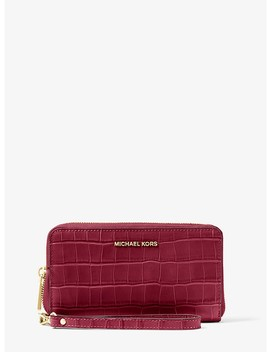 Jet Set Crocodile Embossed Leather Smartphone Wristlet by Michael Michael Kors
