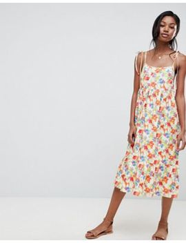 Asos Design Floral Print Midi Smock Dress With Tie Straps by Asos Design