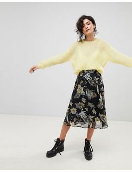 Gestuz Black Flower Print Midi Skirt by Gestuz