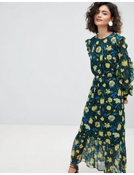 Selected Floral Midaxi Dress With Ruffle Details by Selected