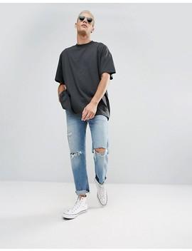 Camiseta Negra Con Paneles Cosidos Apart De Cheap Monday by Asos