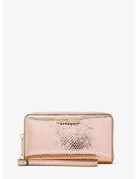 Jet Set Metallic Snake Embossed Leather Smartphone Wristlet by Michael Michael Kors