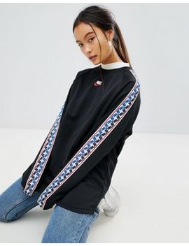 Nike High Neck Sweatshirt In Black With Taped Side Stripe by Nike