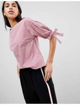 Esprit Polka Dot And Stripe Shell Top With Tie Sleeves by Esprit