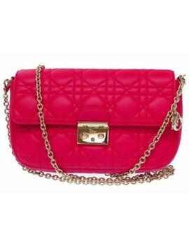 Auth Dior Miss Dior Leather Chain Shoulder Bag Clutch Bag 12 Ma 1103 Pink 0075 by Dior