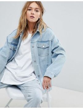 Cheap Monday Oversized Denim Trucker Jacket With Rips by  Cheap Monday