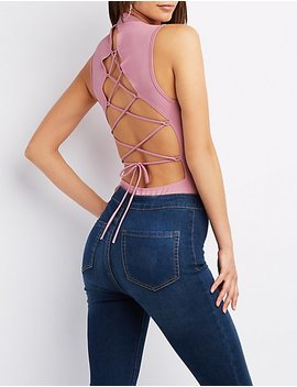 Lace Up Back Mock Neck Bodysuit by Charlotte Russe