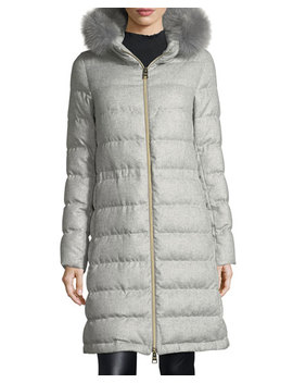 Long Hooded Quilted Puffer Coat W/ Removable Fur Trim by Herno