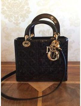 Medium Lady Christian Dior Black Patent Leather Handbag With Cloth Bag  24cm by Dior