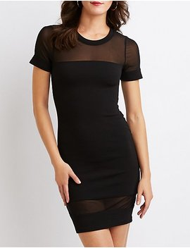 Mesh Trim Bodycon Dress by Charlotte Russe