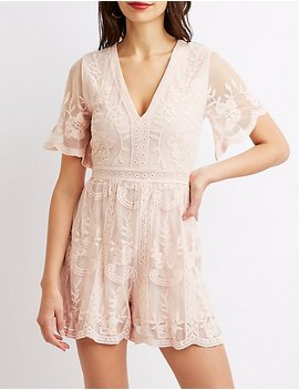 Floral Embroidered Mesh Romper by Charlotte Russe