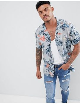 Pull&Bear Revere Collar Shirt With Floral Print In Light Blue by Pull&Bear