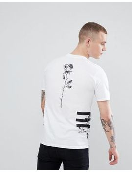 River Island T Shirt With Graphic Rose Print In White by River Island