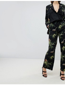 Warehouse Barbican Collection Tropical Printed Wide Leg Trousers by Warehouse
