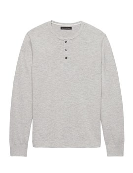 Cotton Sweater Henley by Banana Repbulic