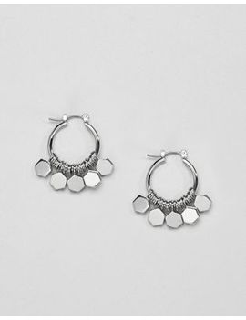Asos Design Hexagon Shape Charm Hoop Earrings by Asos Collection