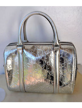 Authentic Christian Dior Silver Polochon Cannage Boston Bag Italy Sold Out! Rare by Christian Dior