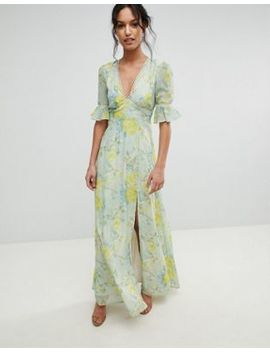 Hope & Ivy Floral Printed Maxi Dress With Thigh Split by Hope And Ivy