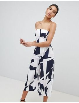 Parallel Lines Bandeau Wide Leg Jumpsuit In Abstract Print by Parallel Lines