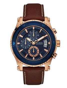 Black And Rose Gold Tone Chronograph Sport Watch by Guess
